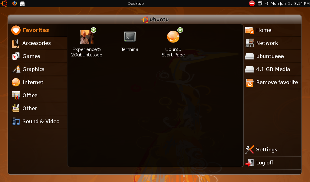 The Ubuntu Netbook Remix launcher is laid out for new users