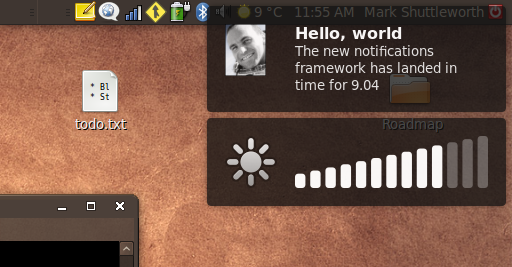 Notify-OSD handles both application notifications and keyboard special keys like brightness and volume