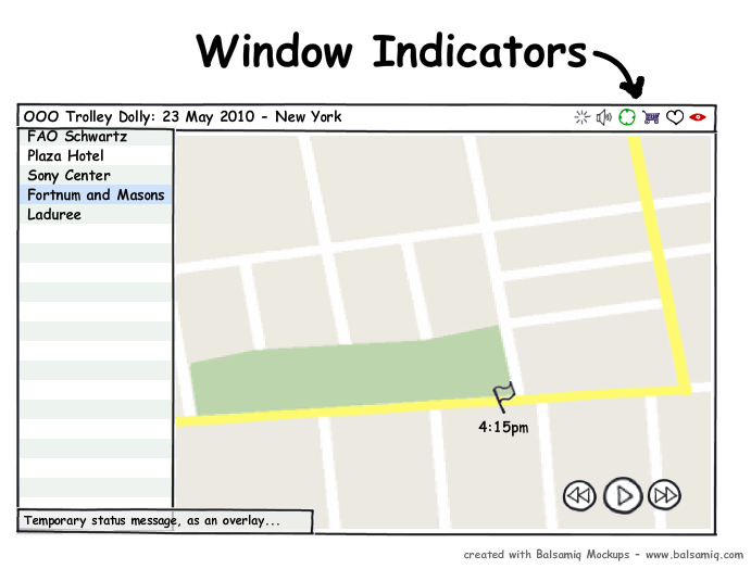 Window indicators follow the standard Ayatana indicator pattern, but are specific to a particular window.