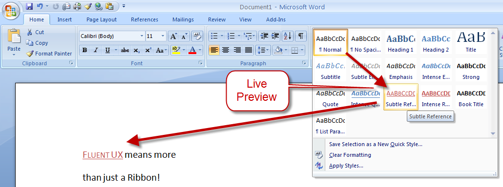 Sample of Microsoft Ribbon